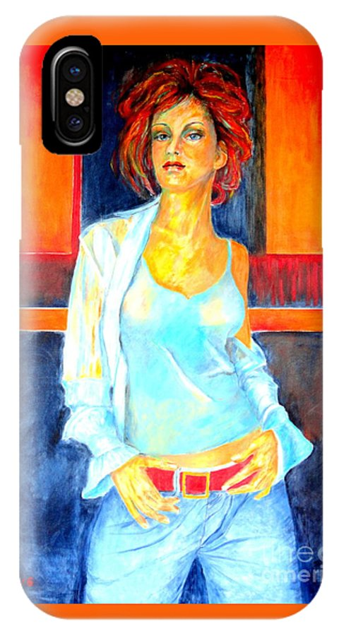 Oilpainting IPhone X Case featuring the painting Jeans by Dagmar Helbig