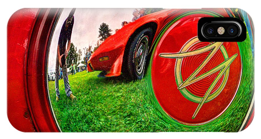 Jeep IPhone X / XS Case featuring the photograph 1949 Willis Jeepster Logo Hubcap193 by Jeff Stallard