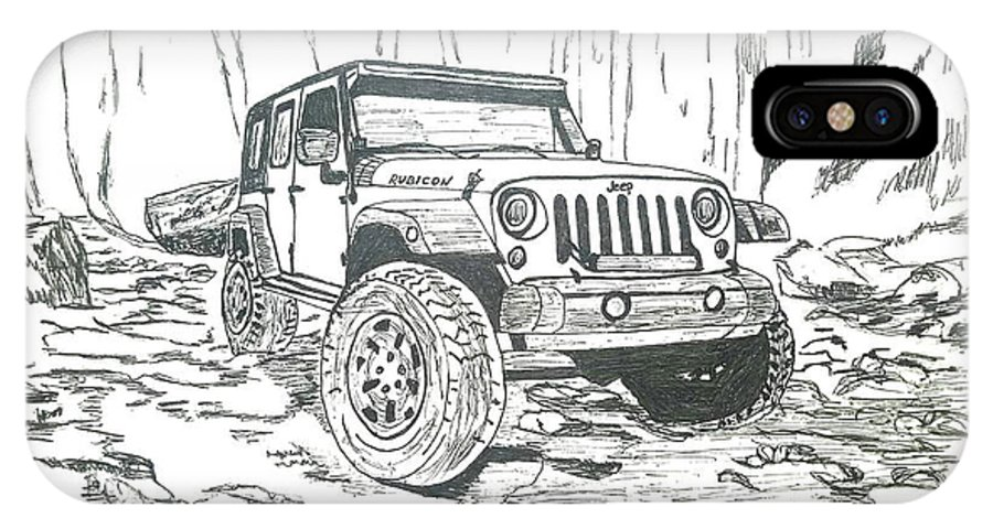new arrival 05954 bb7f7 Jeep Rubicon Gel Pen Sketch IPhone X Case