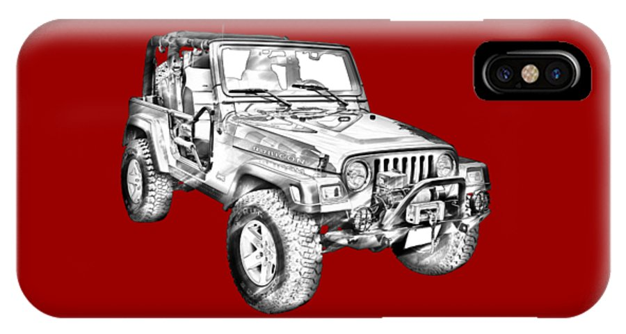 free shipping f5d39 2c542 Jeep Wrangler Rubicon Illustration IPhone X Case