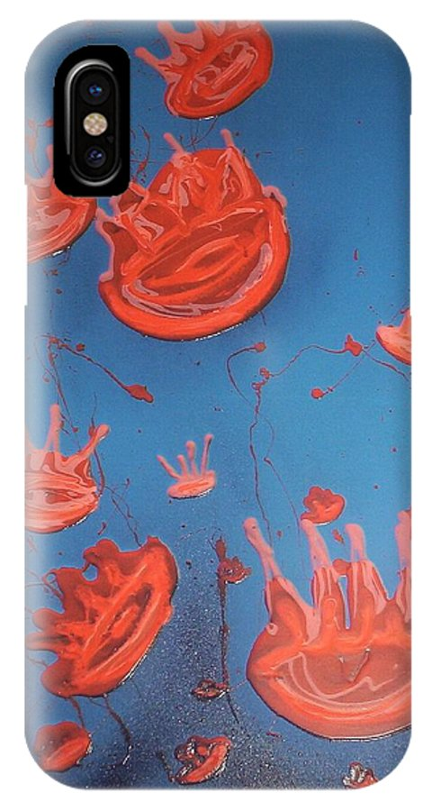 Sea IPhone X Case featuring the painting Jelly Fish by Joan Stratton