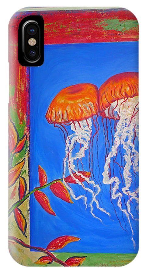 Jellyfish IPhone X Case featuring the painting Jellyfish With Flowers by Ericka Herazo