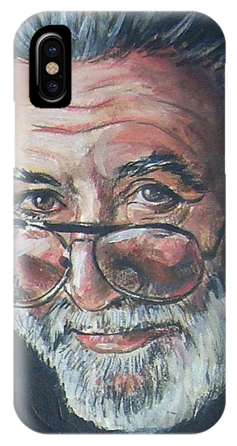 Jerry Garcia IPhone X Case featuring the painting Jerry Garcia by Bryan Bustard