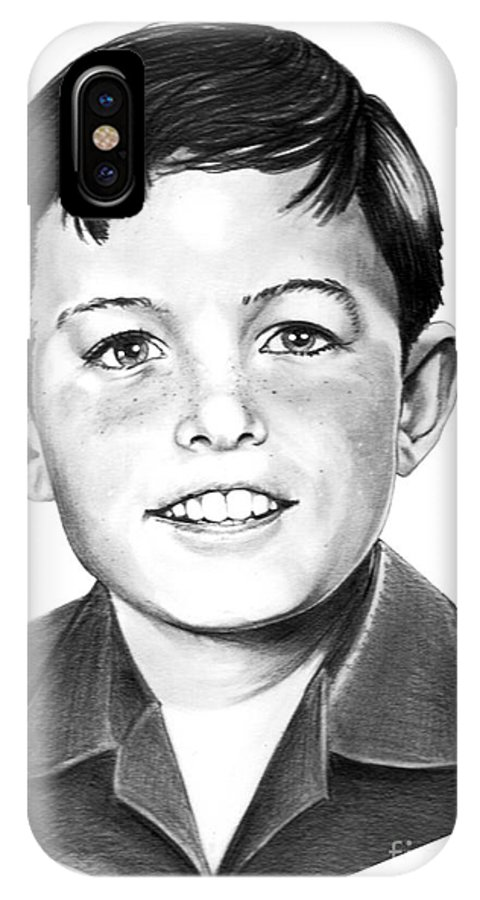 Portrait IPhone X Case featuring the drawing Jerry Mathers-as The Beaver-murphy Elliott by Murphy Elliott