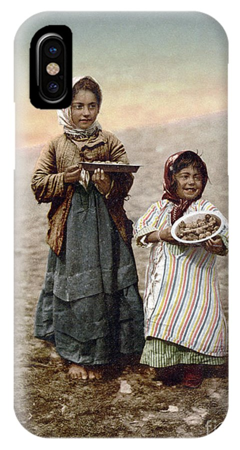 1900 IPhone X Case featuring the photograph JERUSALEM GIRLS, c1900 by Granger