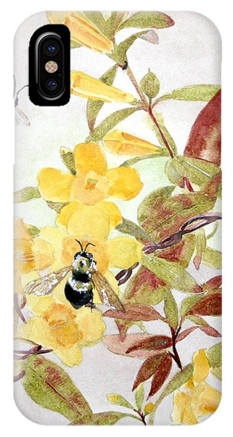 Jasmine IPhone X Case featuring the painting Jessamine Bee Mine by Jean Blackmer
