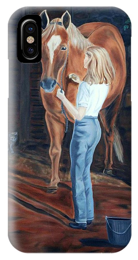 Horse IPhone Case featuring the painting Jessica And Bunnie by Margaret Fortunato