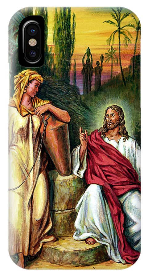 Jesus IPhone Case featuring the painting Jesus And The Woman At The Well by John Lautermilch