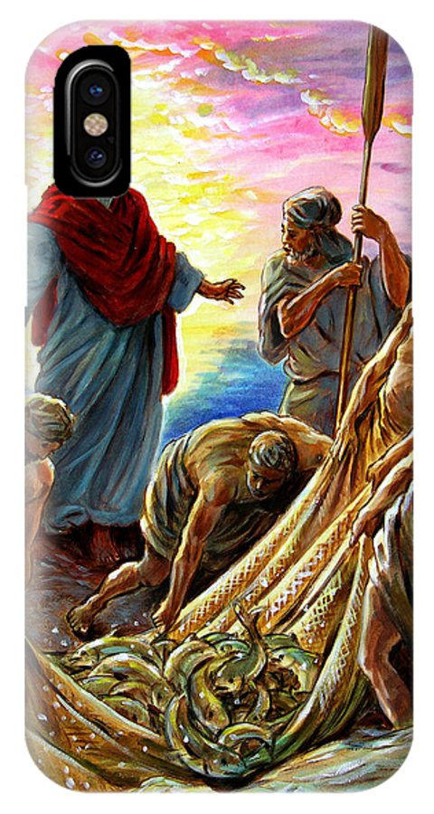 Jesus IPhone X Case featuring the painting Jesus Appears To The Fishermen by John Lautermilch