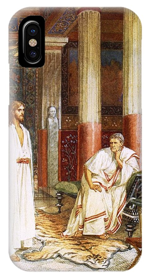 Bible; Jesus Christ; Pontius Pilate; Tiger Skin; Couch; Privately; Private IPhone X Case featuring the painting Jesus Being Interviewed Privately by William Brassey Hole