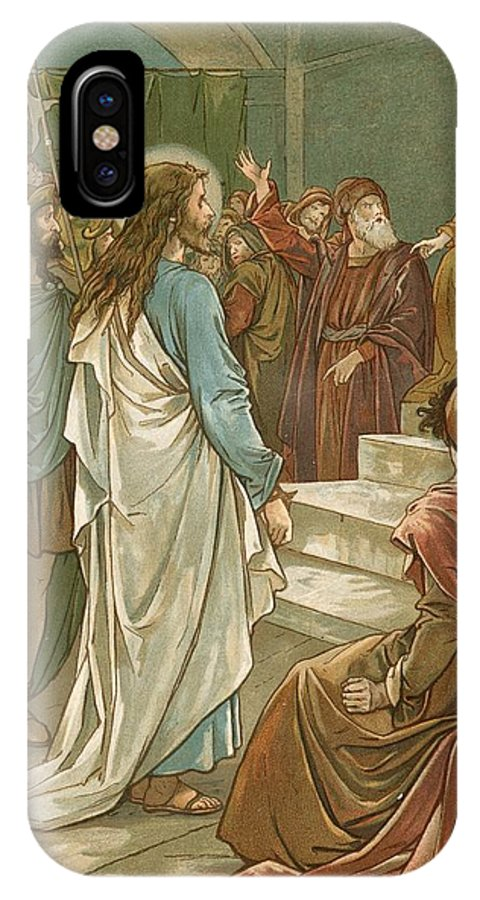 Bible; Jesus Christ; Pontius Pilate; Trial; Soldiers; Romans IPhone X Case featuring the painting Jesus In Front Of Pilate by John Lawson
