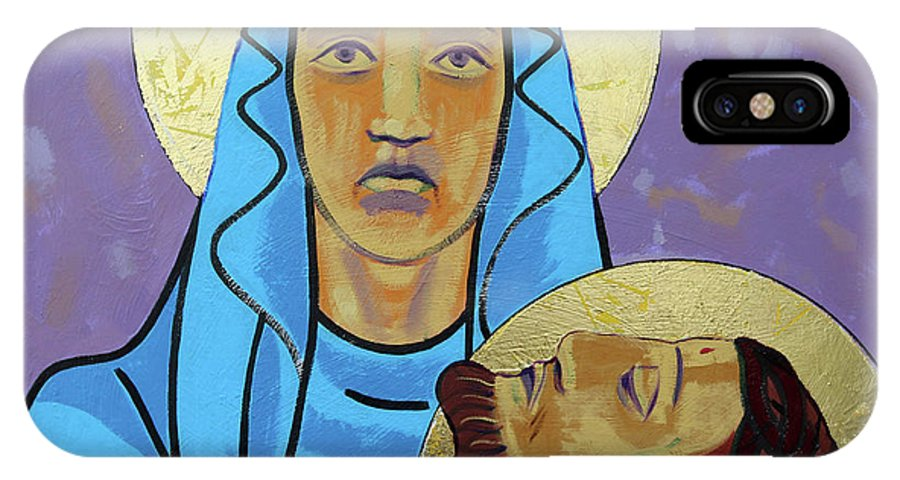 Jesus IPhone X Case featuring the painting Jesus Is Taken Down From The Cross by Sara Hayward