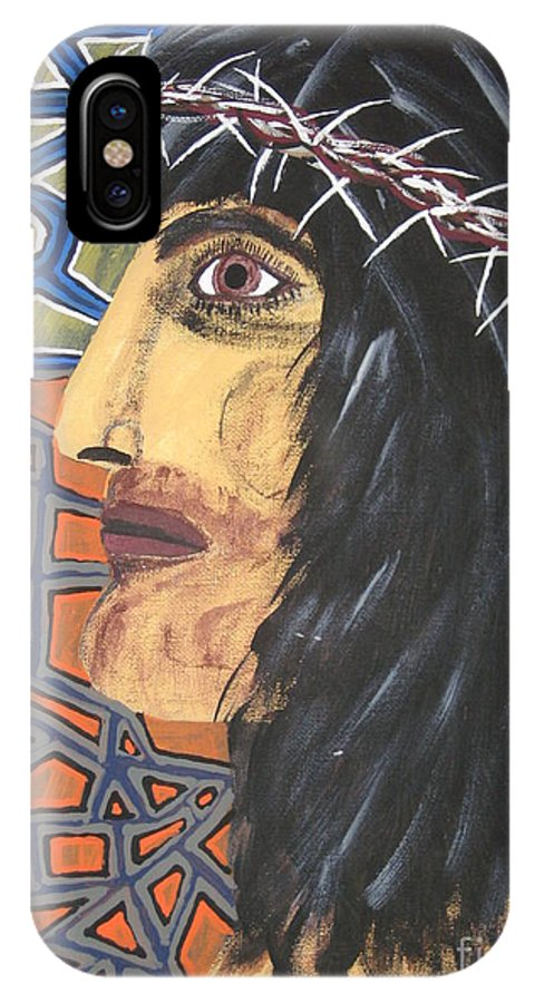 Portrait IPhone X / XS Case featuring the painting Jesus by Jeffrey Koss