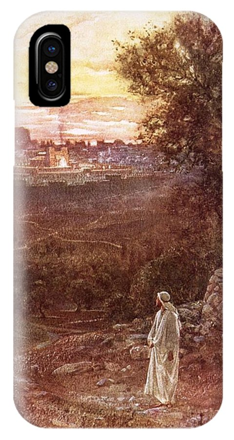 Bible; Jesus Christ; Mount Of Olives IPhone X Case featuring the painting Jesus On The Mount Of Olives by William Brassey Hole