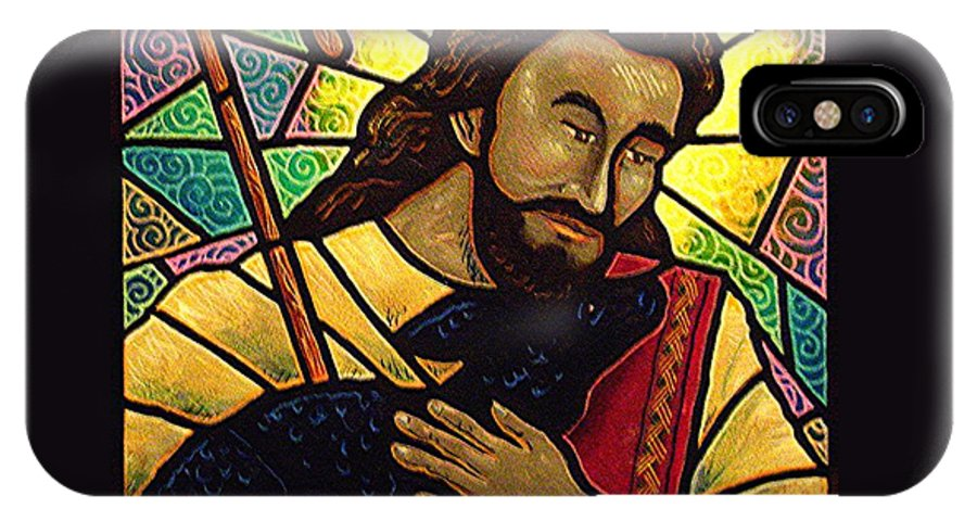 Jesus IPhone X / XS Case featuring the painting Jesus The Good Shepherd by Jim Harris
