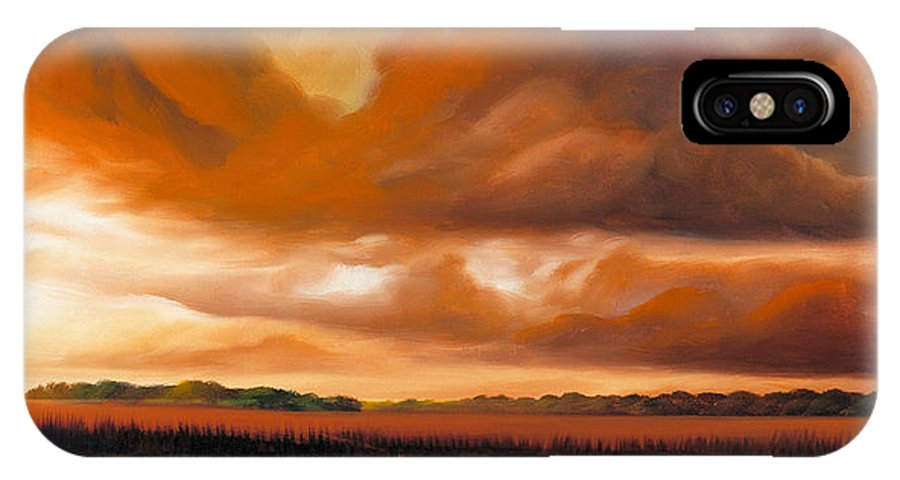 Clouds IPhone X Case featuring the painting Jetties On The Shore by James Christopher Hill