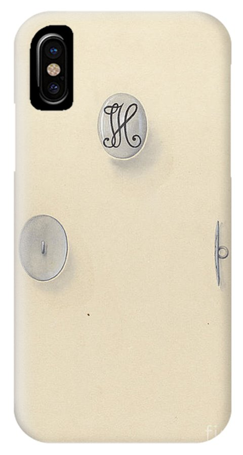 IPhone X Case featuring the drawing Jewelry Button by John H. Tercuzzi