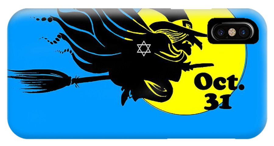Religion IPhone X Case featuring the digital art Jewish Halloween Witch by Frederick Holiday