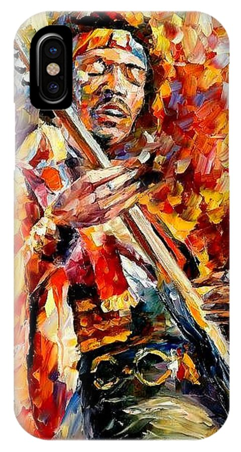 Music IPhone X Case featuring the painting Jimi Hendrix by Leonid Afremov