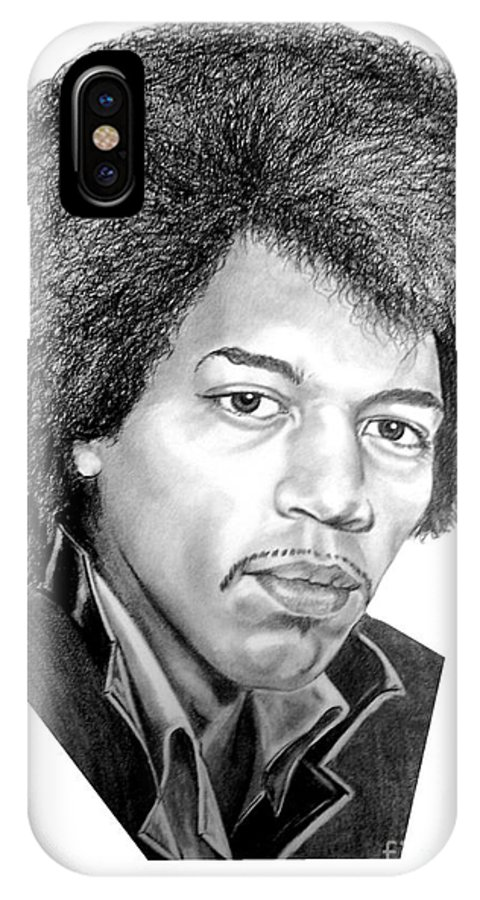 Jimmi Hendrix IPhone X Case featuring the drawing Jimmi Hendrix By Murphy Art. Elliott by Murphy Elliott