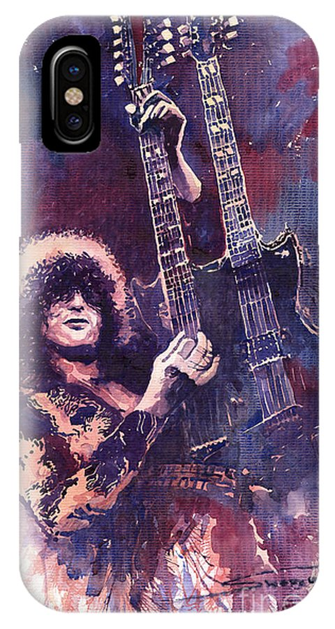Watercolour IPhone X Case featuring the painting Jimmy Page by Yuriy Shevchuk