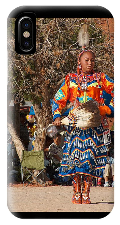 Pow-wow Dancer IPhone X Case featuring the photograph Jingle Dress Dancer At Star Feather Pow-wow by Tim McCarthy