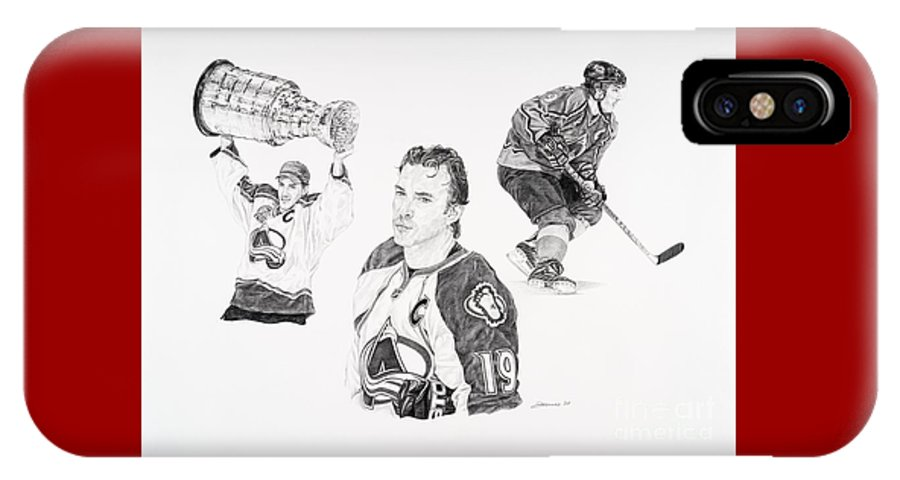 Hockey IPhone X Case featuring the drawing Joe Sakic by Shawn Stallings