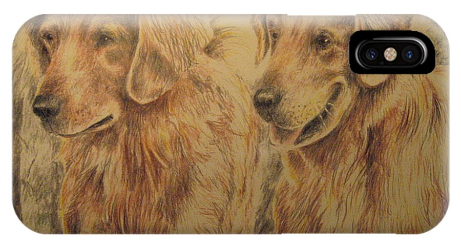 Dogs IPhone X Case featuring the drawing Joe's Dogs by Larry Whitler