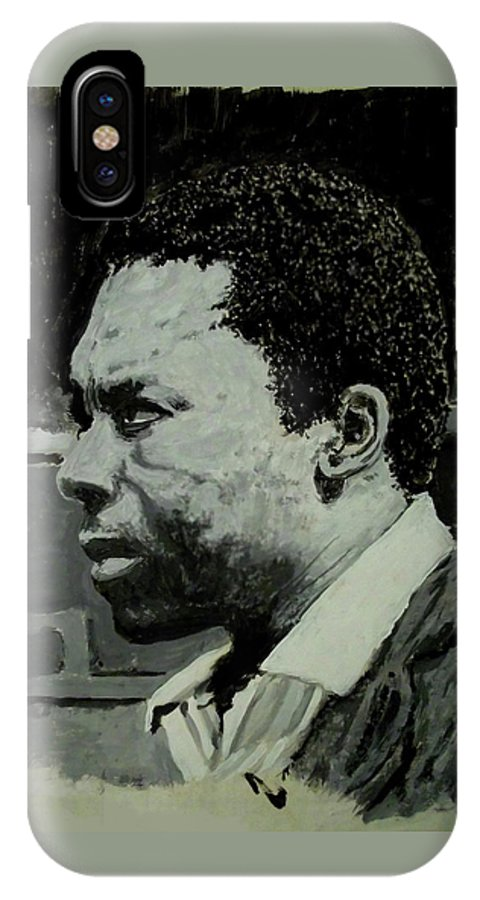 Tempera IPhone X Case featuring the painting John Coltrane by David Bromley