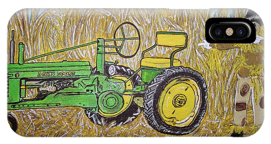 John Deere IPhone X Case featuring the painting John Deere Tractor And The Scarecrow by Kathy Marrs Chandler