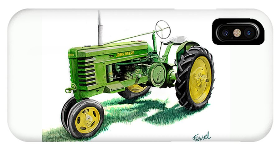 John Deere Tractor IPhone X Case featuring the painting John Deere Tractor by Ferrel Cordle