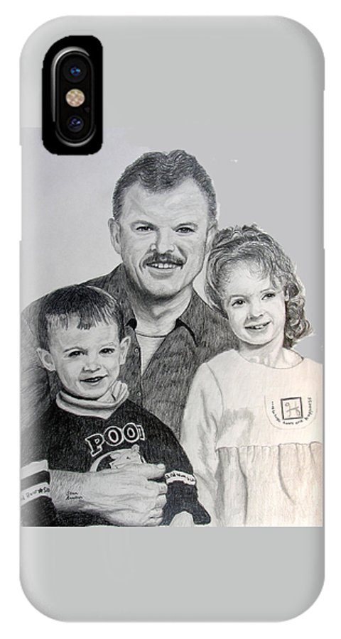 Portrait IPhone Case featuring the drawing John Megan And Joey by Stan Hamilton