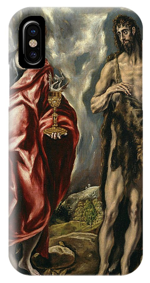 Cinquecento IPhone X Case featuring the painting John The Baptist And Saint John The Evangelist by El Greco