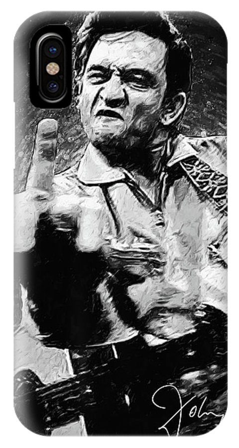 Johnny Cash IPhone X Case featuring the digital art Johnny Cash by Zapista