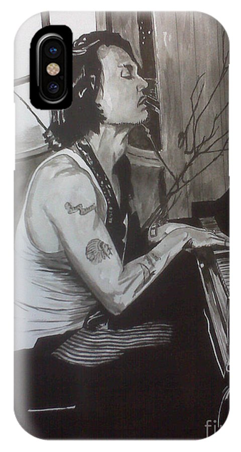 Justin Moore IPhone X Case featuring the painting Johnny Depp 1 by Justin Moore