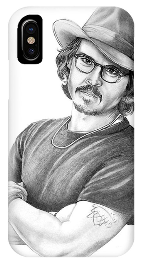 Johnny Depp IPhone Case featuring the drawing Johnny Depp by Murphy Elliott