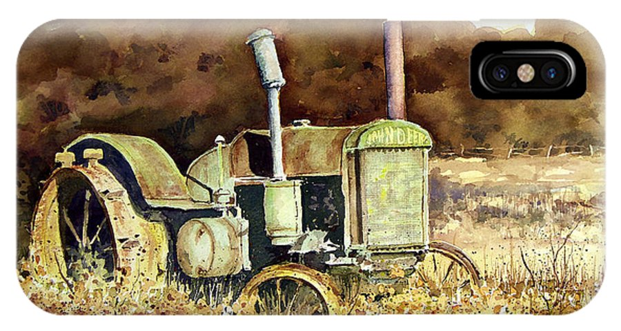 Tractor IPhone X Case featuring the painting Johnny Popper by Sam Sidders