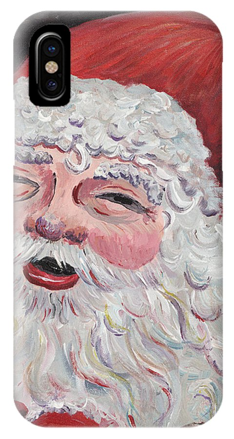 Santa IPhone X Case featuring the painting Jolly Santa by Nadine Rippelmeyer