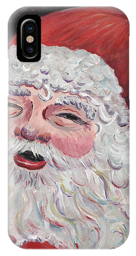 Santa IPhone X / XS Case featuring the painting Jolly Santa by Nadine Rippelmeyer