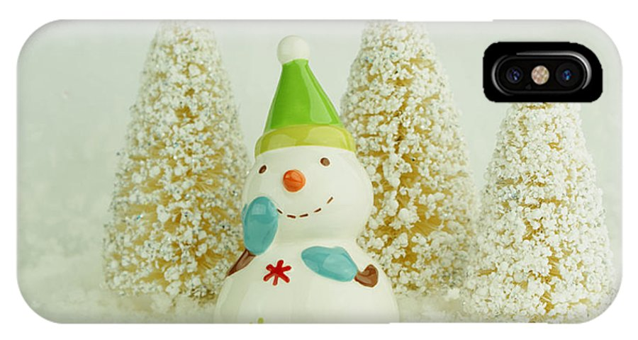 Christmas IPhone X Case featuring the photograph Jolly The Snowman I by Valerie Fuqua