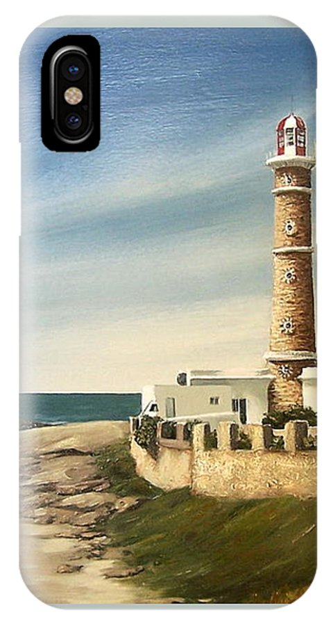 Landscape Seascape Lighthouse Uruguay Beach Sea Water IPhone Case featuring the painting Jose Ignacio Lighthouse Evening by Natalia Tejera