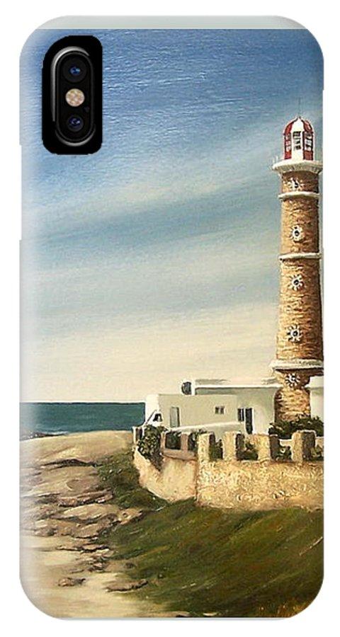 Landscape Seascape Lighthouse Uruguay Beach Sea Water IPhone X Case featuring the painting Jose Ignacio Lighthouse Evening by Natalia Tejera