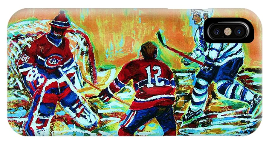 Hockey Canvas Prints IPhone X Case featuring the painting Jose Theodore The Goalkeeper by Carole Spandau