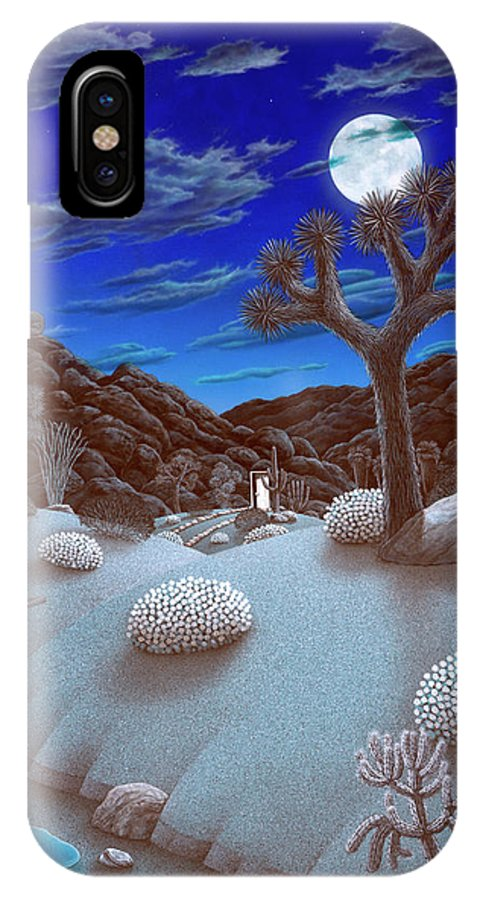 Landscape IPhone X Case featuring the painting Joshua Tree At Night by Snake Jagger