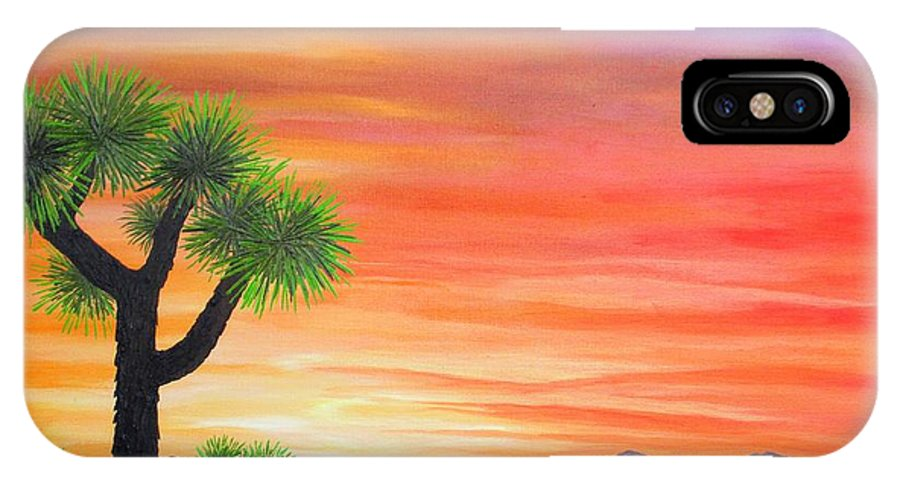 Joshua Trees IPhone X Case featuring the painting Joshua Tree Sunset by Carol Sabo