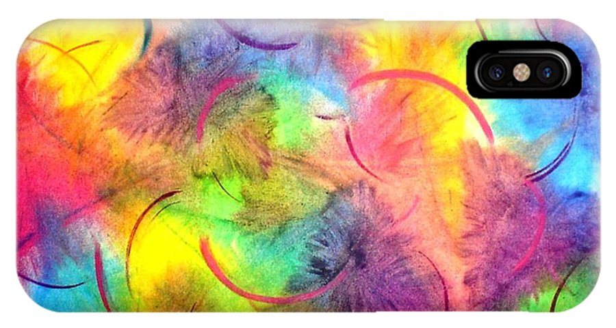 Color IPhone X Case featuring the pastel Joy by Chandelle Hazen