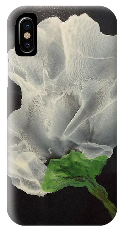 Mixed Media Yupo Blooming IPhone X Case featuring the mixed media Joy by Colleen Lyall