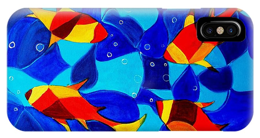 Abstract.acrylic.fish.bubbles.art.painting.modern.contemporary.popblue Red Bubbles Yellow Landscape IPhone X Case featuring the painting Joy Fish Abstract by Manjiri Kanvinde