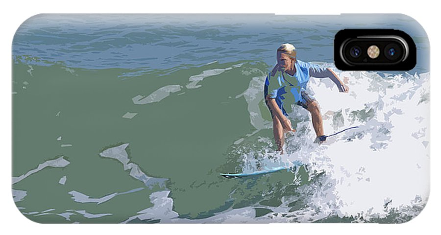 Surf IPhone X Case featuring the painting Joy Of Surfing - Three by Allan Hughes