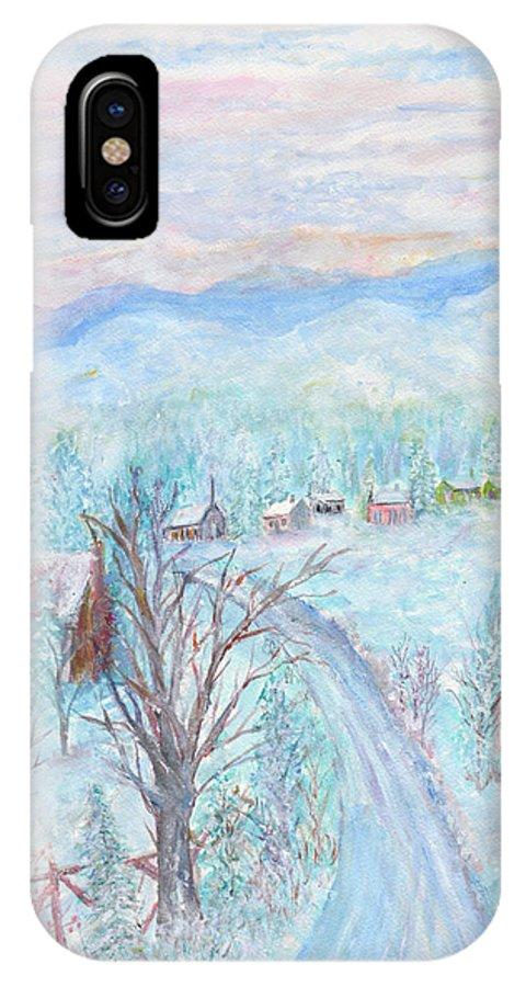 Winter IPhone X Case featuring the painting Joy of Winter by Ben Kiger
